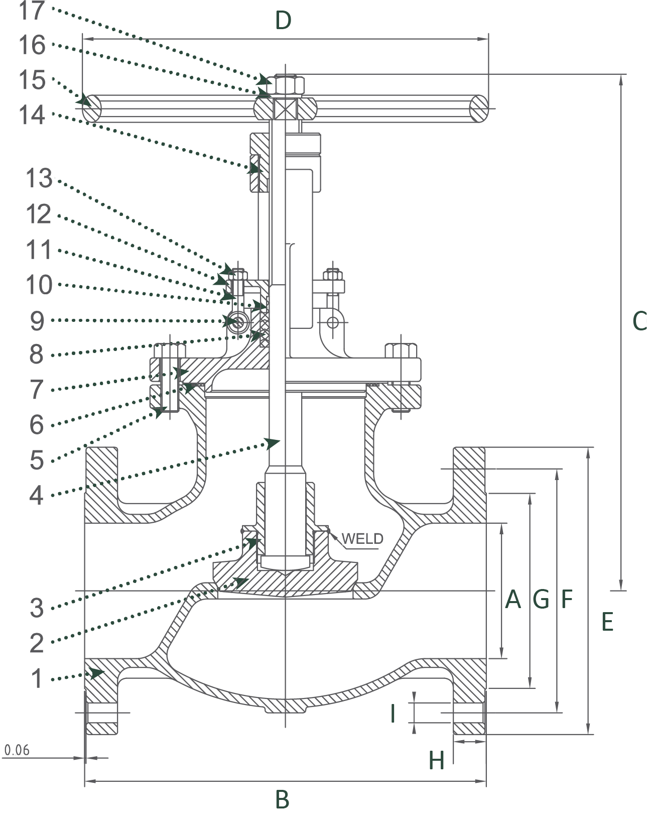 Cast Stainless Steel Globe Valve Class 300 Elite Valve Technical Drawing