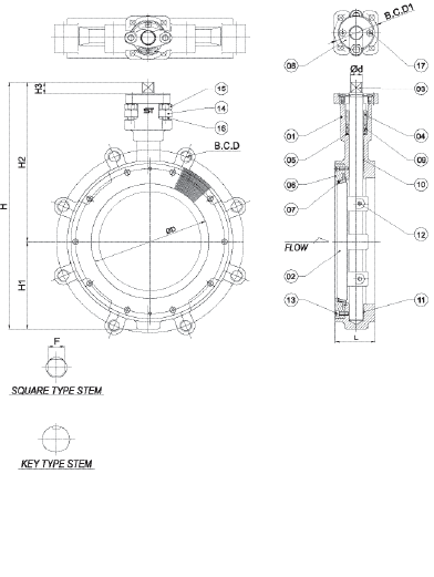 Stainless Steel High Performance Butterfly Valve Class 150 Lug Technical Drawing