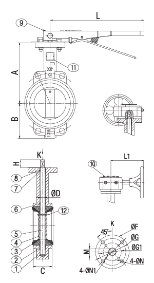 Cast Iron Resilient Seated Butterfly Valve Class 125 Wafer Technical Drawing