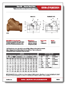 Bronze Swing Check Valve Class 150 Elite Valve Brochure