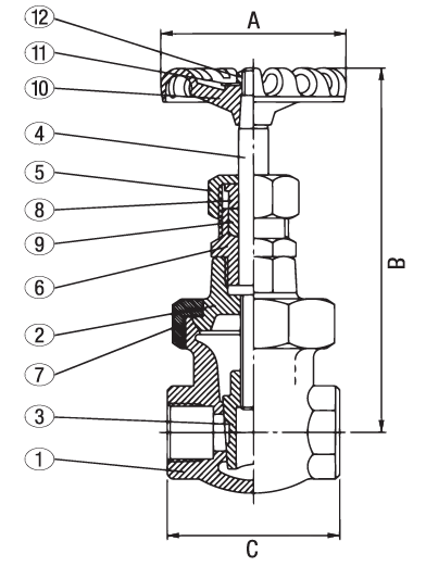 Bronze Gate Valve Class 300 NRS Union Bonnet Elite Valve Technical Drawing