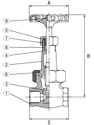 Bronze Gate Valve Class 300 RS Elite Valve Technical Drawing