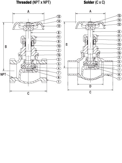 Bronze Globe Valve Class 150 PTFE Disc Elite Valve Technical Drawing
