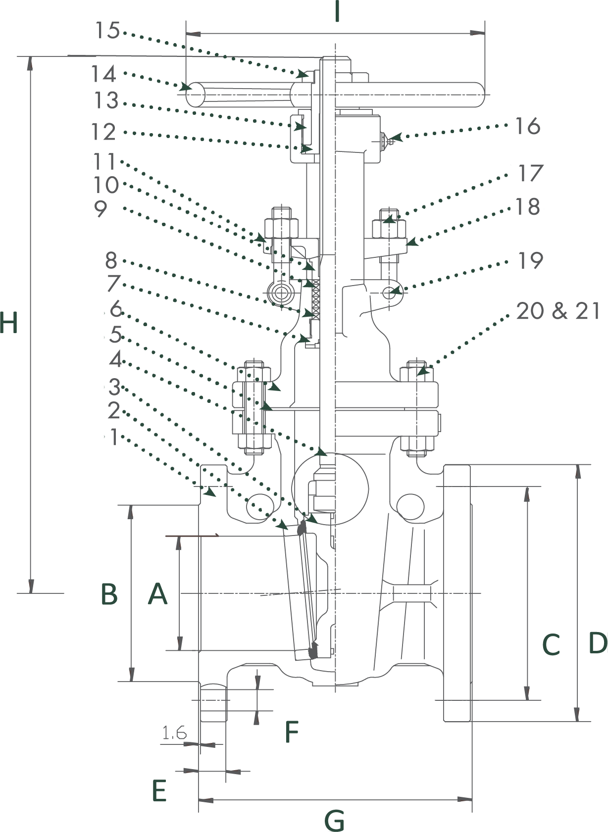 Cast Carbon Steel Gate Valve Class 150 Elite Valve Technical Drawing