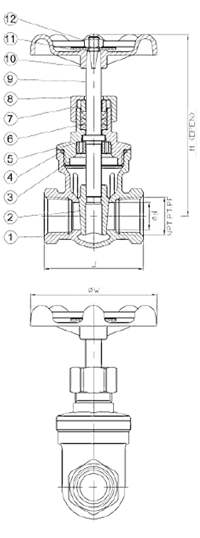 Cast Stainless Steel Gate Valve 200 WOG Elite Valve Technical Drawing