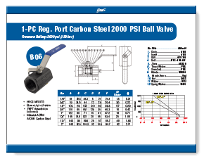 1-Piece Carbon Steel Ball Valve 2000 WOG B06 Elite Valve Brochure