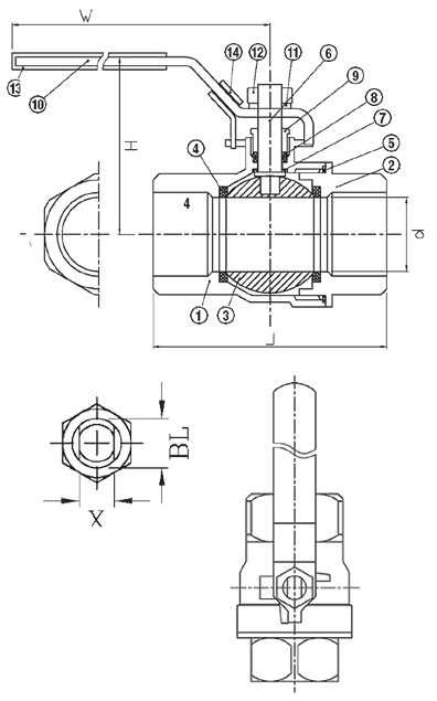 2-Piece Stainless Steel Ball Valve 2000 WOG B02 Elite Valve Technical Drawing