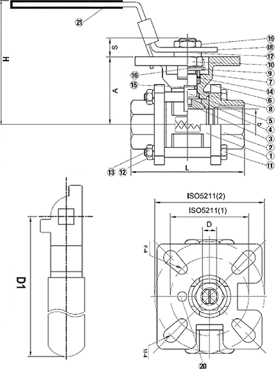 3-Piece Stainless Steel Ball Valve 1000 WOG B05 Elite Valve Technical Drawing